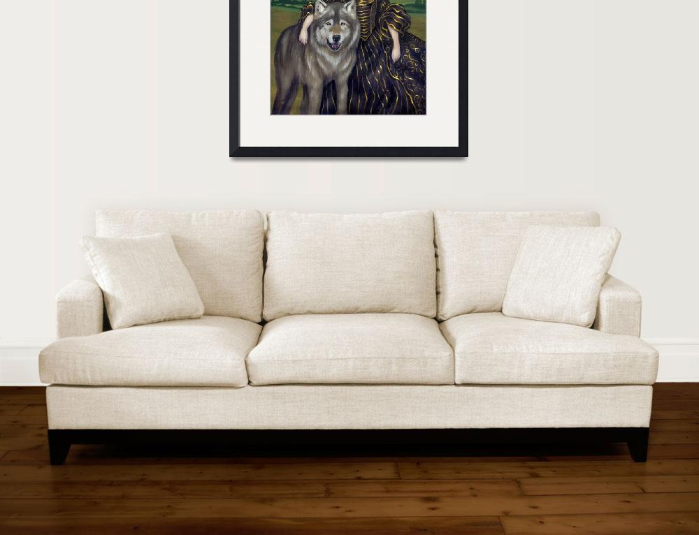 """Gothic Wolf Painting - Loup-Garou:  Pastorale&quot  (2008) by strangeling"