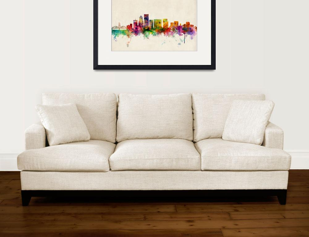"""Portland Oregon Skyline&quot  (2013) by ModernArtPrints"