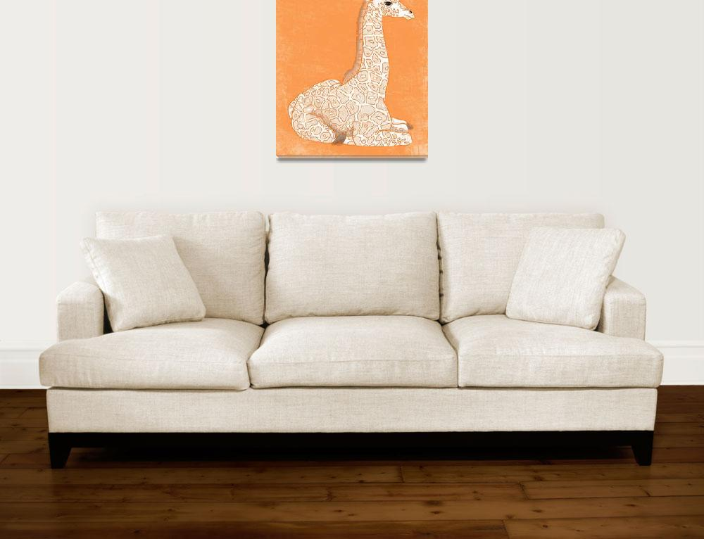"""Baby Giraffe in Orange&quot  (2014) by Littlepig"