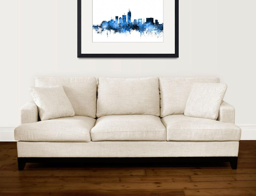"""Indianapolis Indiana Skyline&quot  (2016) by ModernArtPrints"