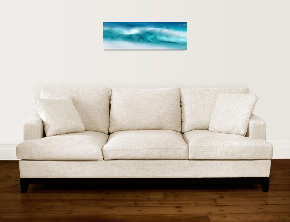"""Blue Ocean Waves On The Beach Panoramic&quot  (2016) by MarkLawrence"