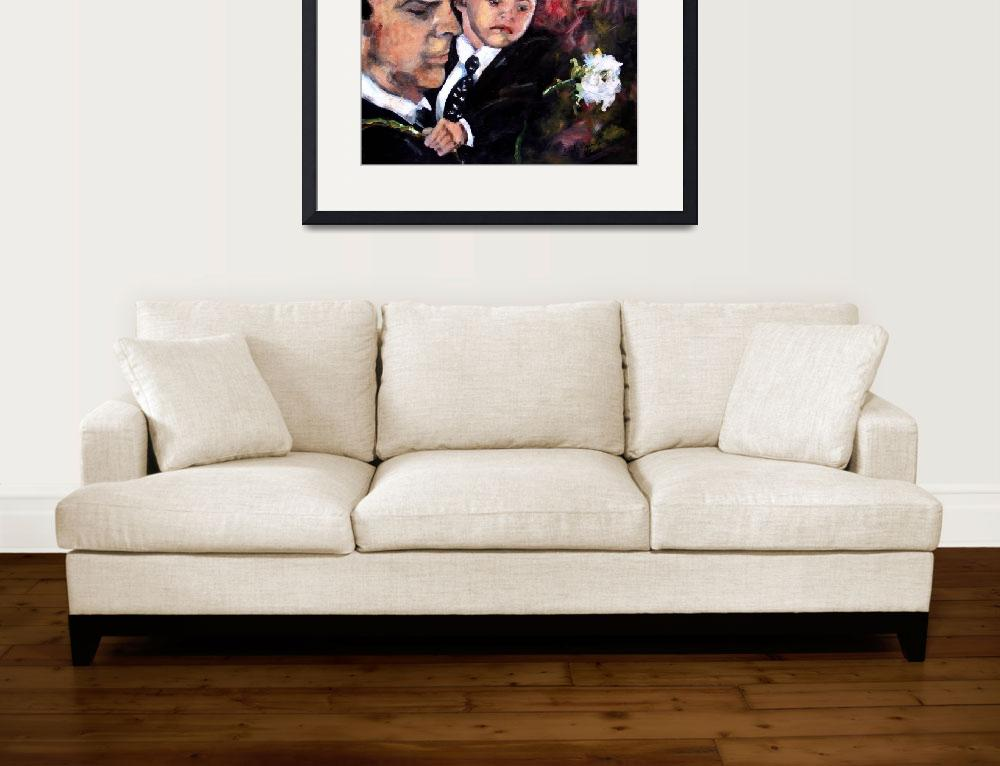 """White Roses for Haley Painting of Hotch and Jack&quot  (2011) by GinetteCallaway"