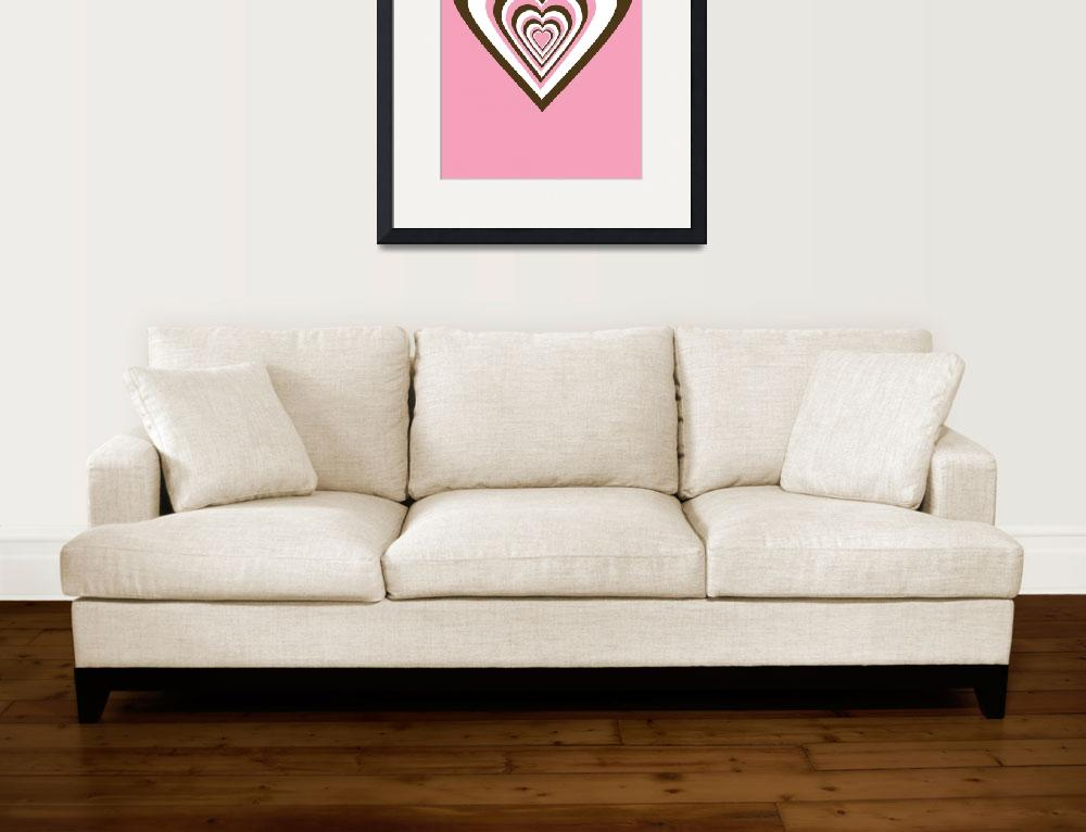 """Pink Brown and White Hearts&quot  (2009) by ValeriesGallery"