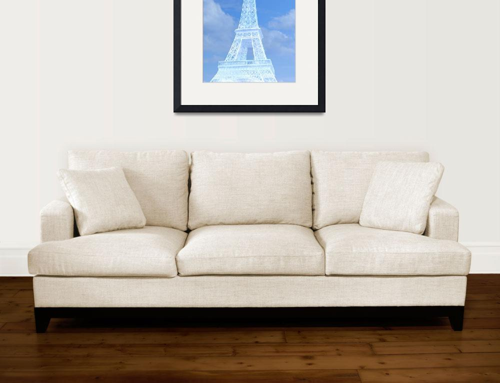 """Eiffel Tower in Blue and White&quot  (2016) by CoraNiele"