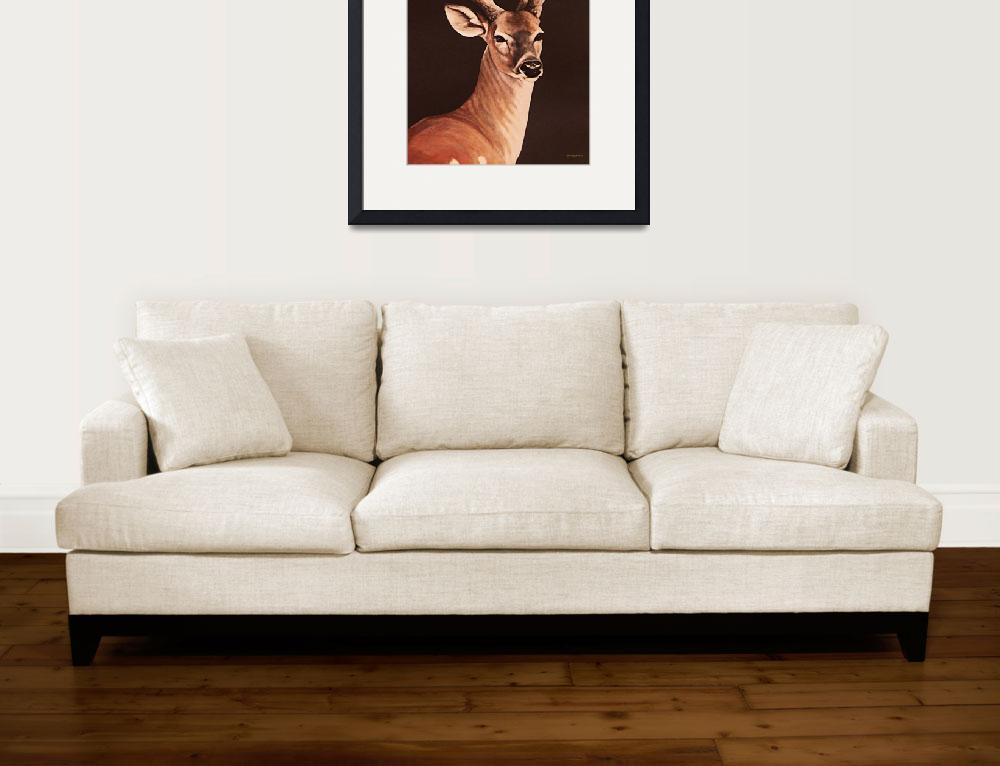 """12 Pointer Stag     painting&quot  by AnimalsbyDiDi"