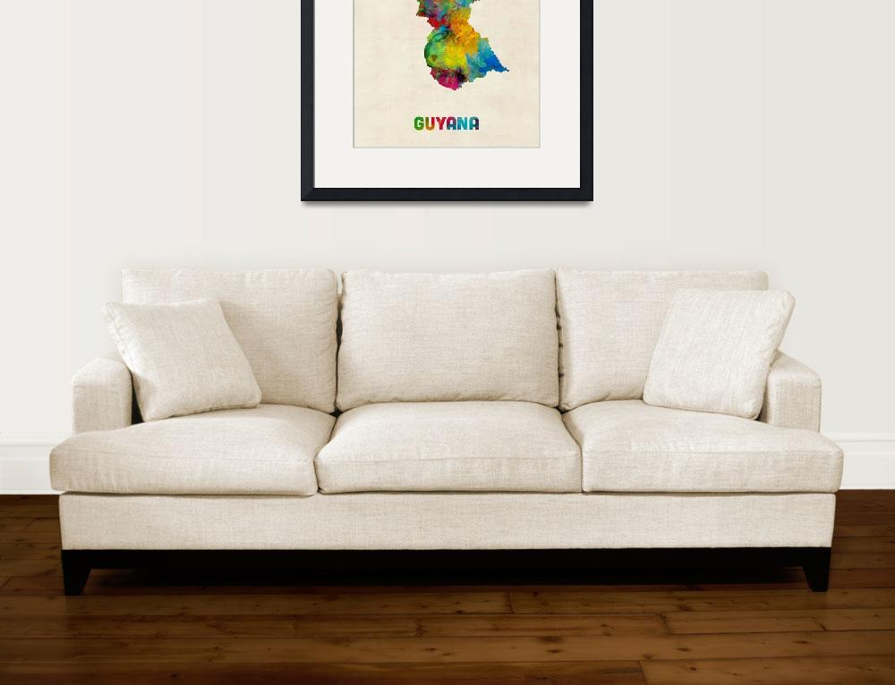 """Guyana Watercolor Map&quot  (2014) by ModernArtPrints"