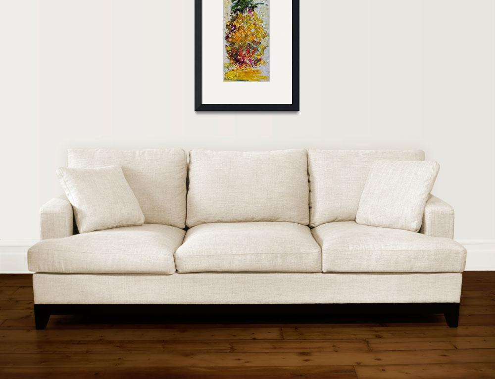 """Modern Pineapple Expressive Oil Painting&quot  (2012) by GinetteCallaway"