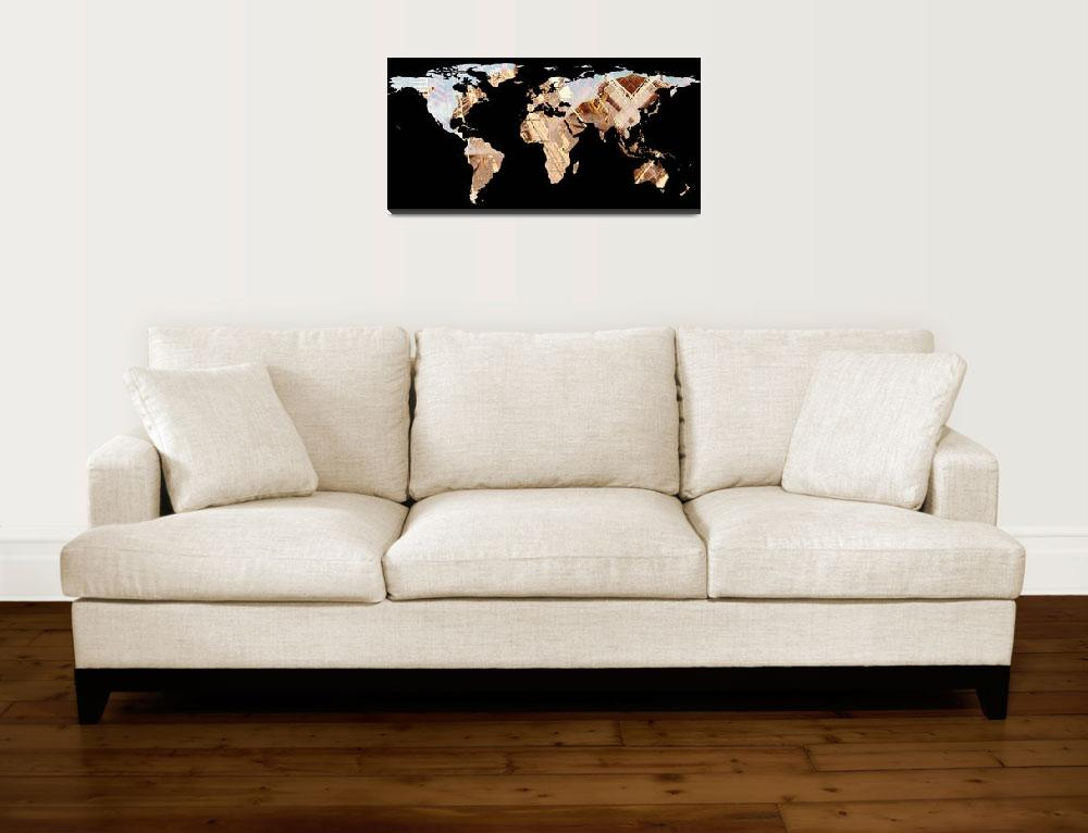 """World Map Silhouette - Abstract Photo-Mandala&quot  by Alleycatshirts"