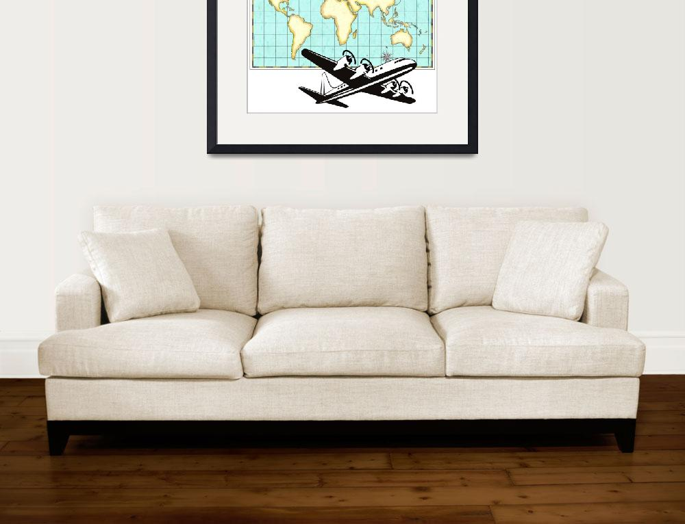 """World Map Old Style and Airplane&quot  (2013) by patrimonio"