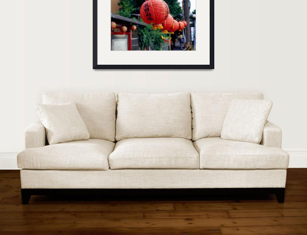 """Red Chinese Lanterns Blowing in the Wind&quot  by dennisflood"
