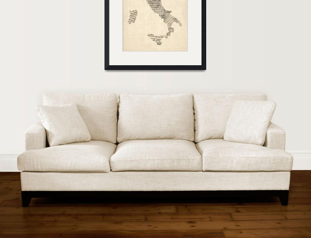 """Old Sheet Music Map of Italy Map&quot  (2012) by ModernArtPrints"