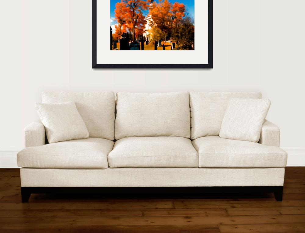 """New England Style Church,Orange Fall Autumn Leaves&quot  (2009) by Chantal"