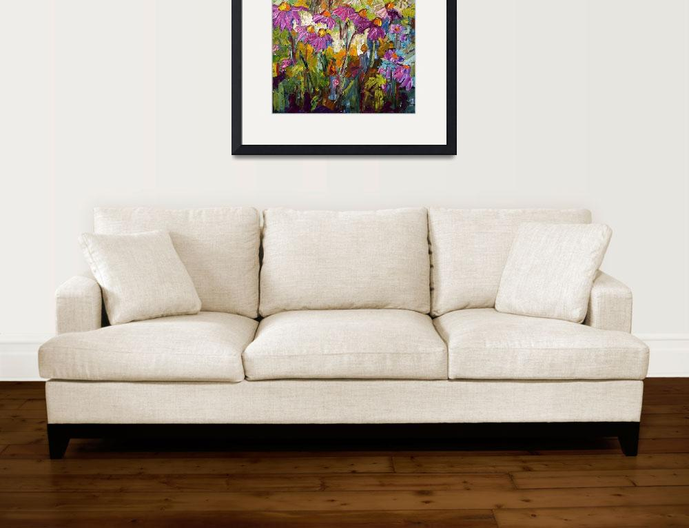 """Impressionist Purple Coneflowers Oil Painting&quot  (2012) by GinetteCallaway"