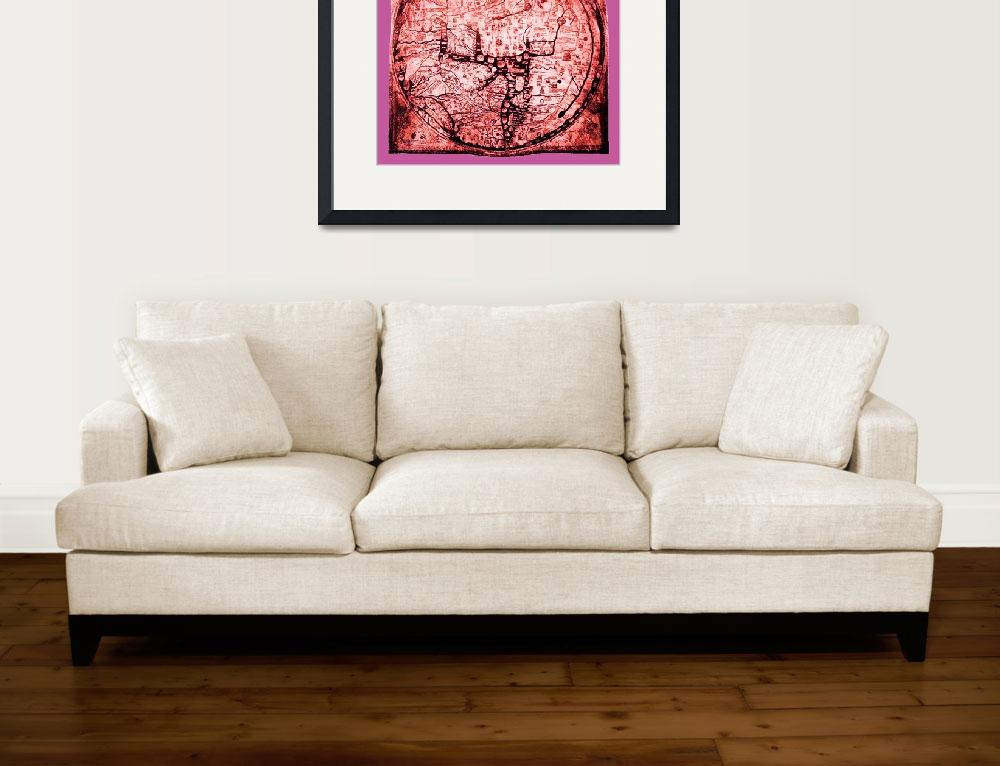 """Hereford Mappa Mundi Red Tint Small Pink Border&quot  (2014) by TheNorthernTerritory"