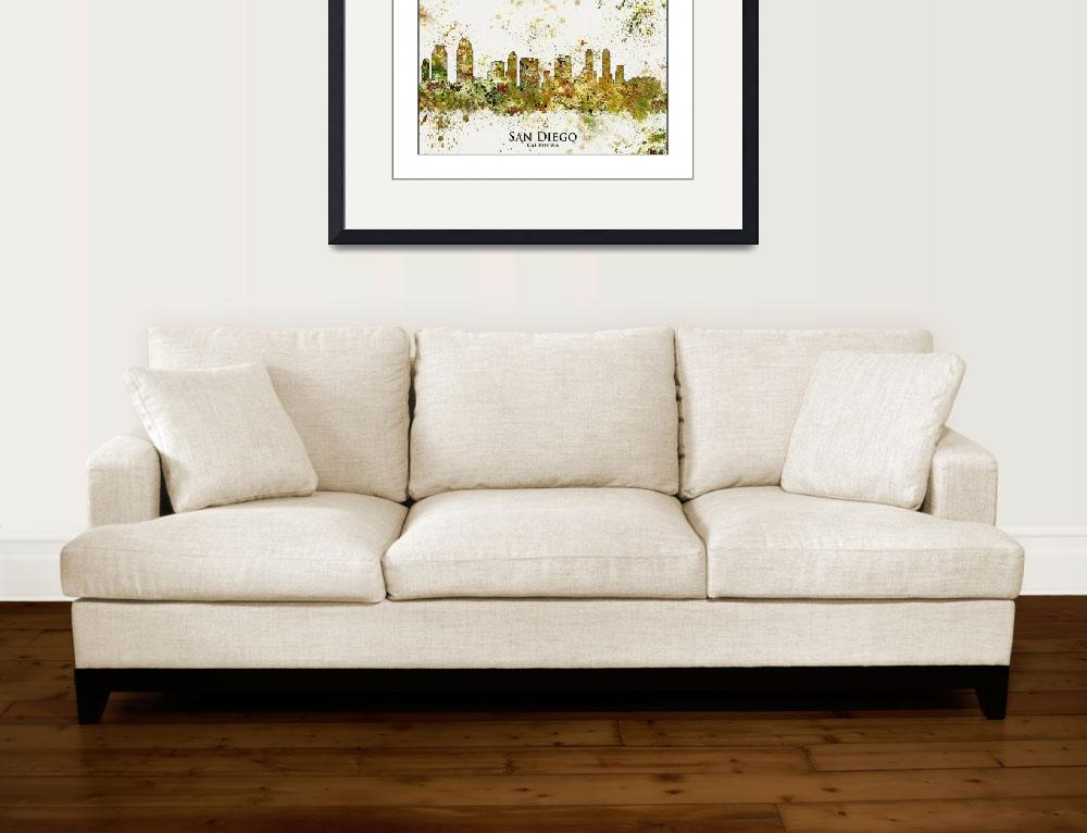 """San Diego City Skyline&quot  by WaterColorMaps"