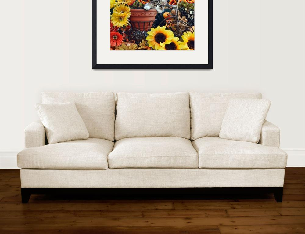 """Venus,Cute Kitty Cat Kitten,Fall Colors,Sunflowers&quot  (2009) by Chantal"