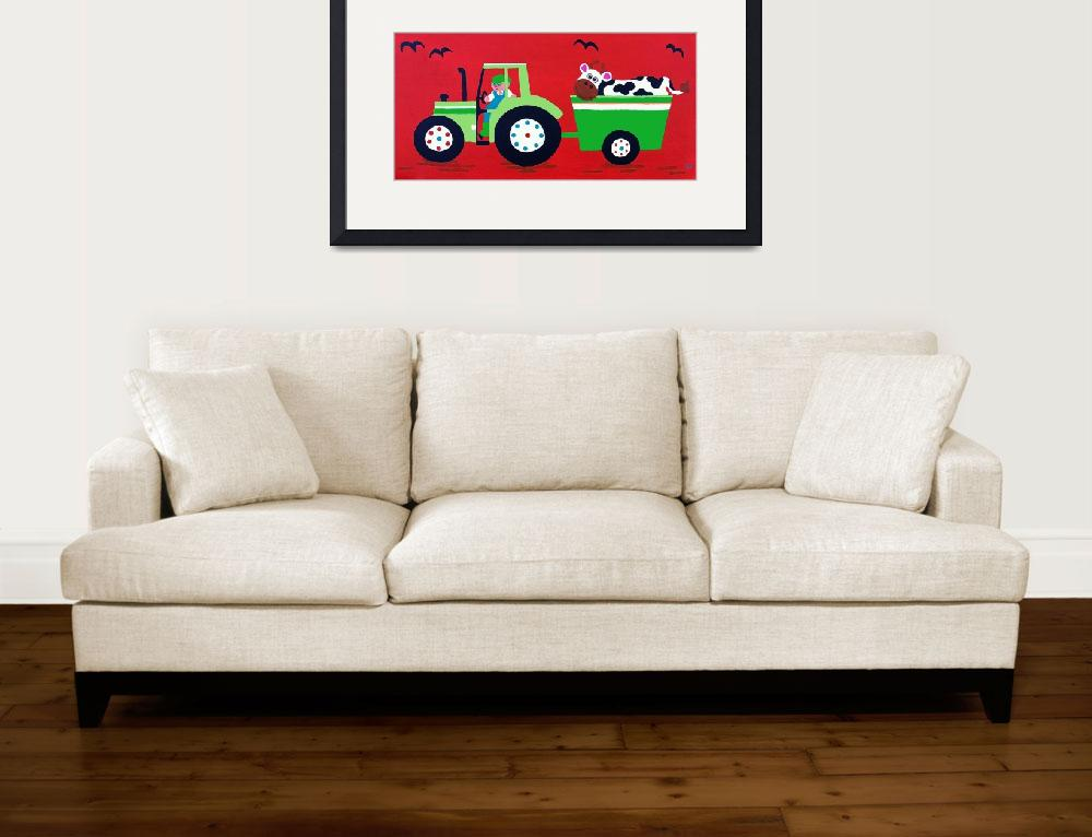 """Green Tractor on Red&quot  (2012) by CharlotteBurr"