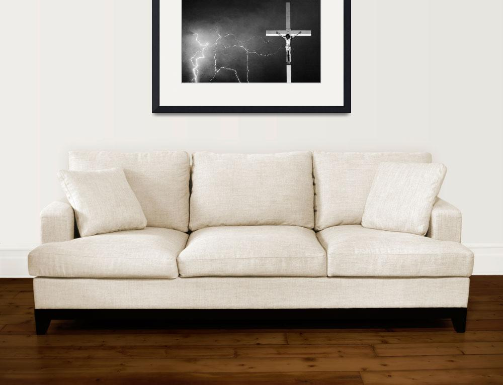 """Good Friday - Crucifixion of Jesus BW Crop&quot  (2012) by lightningman"