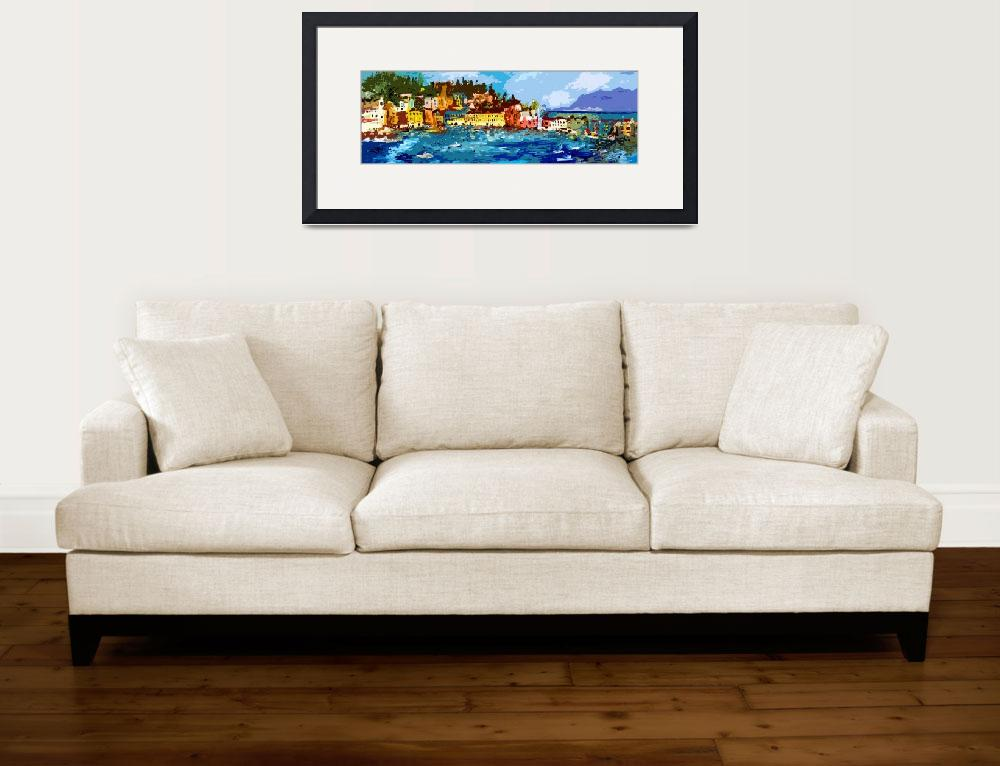 """Sestri Levante Italy Liguria Panoramic Abstract&quot  (2012) by GinetteCallaway"