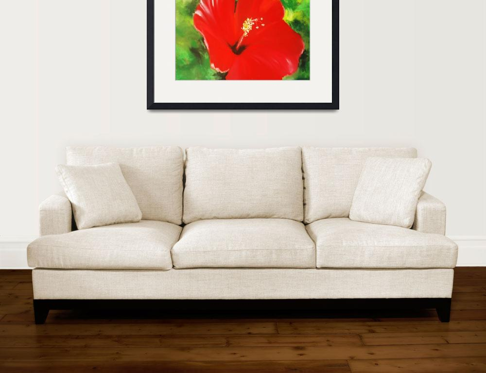 """Red Hibiscus&quot  (2008) by melinda"