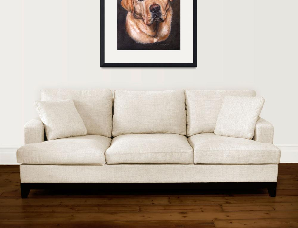 """Yellow Labrador Dog Portrait Painting&quot  (2012) by DogsandFlowers"