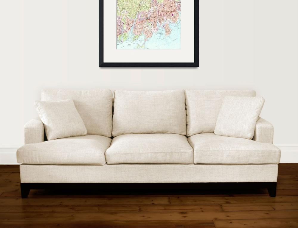 """Stamford Connecticut Map (1987)&quot  by Alleycatshirts"