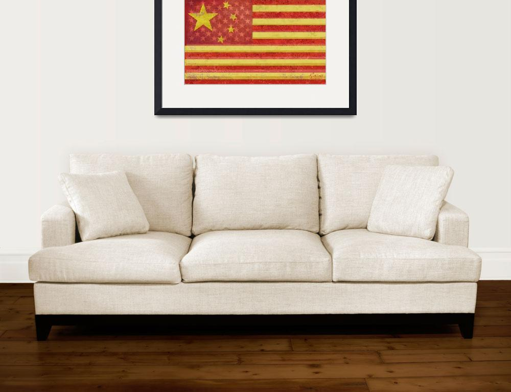 """Chinese American Flag Blend&quot  by RubinoFineArt"