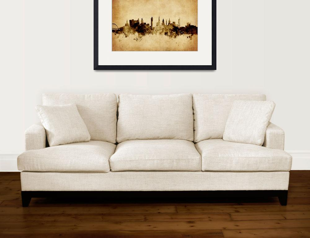"""Glasgow Scotland Skyline&quot  (2015) by ModernArtPrints"