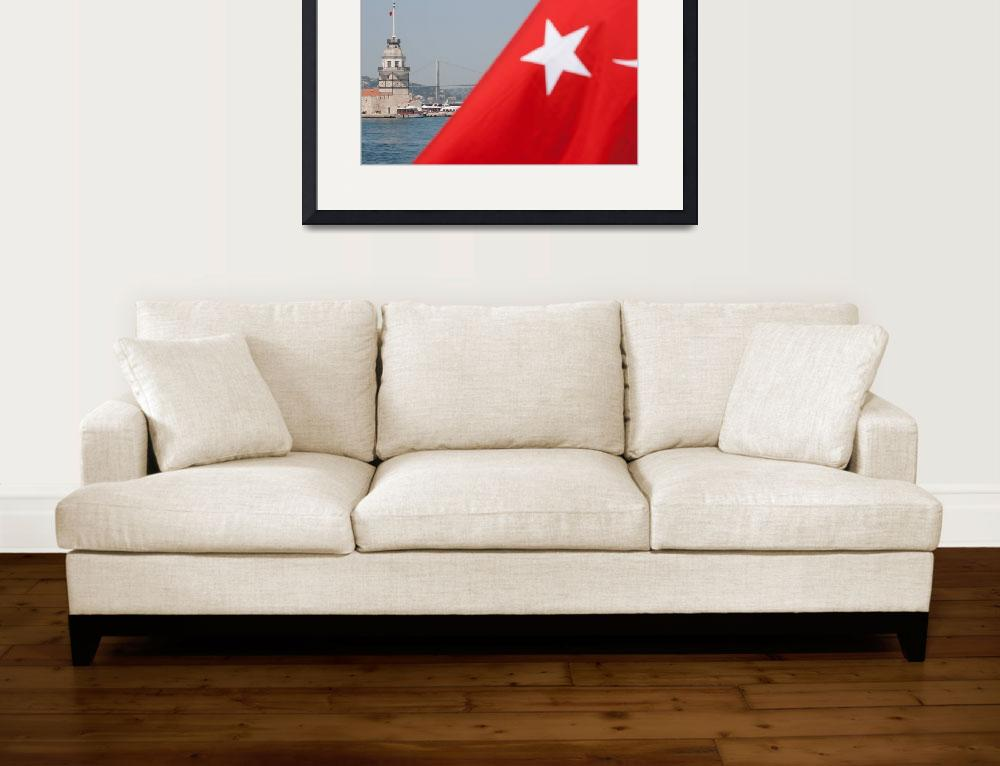 """Turkish flag and Maiden tower in Istanbul&quot  (2010) by sebnemkoken"