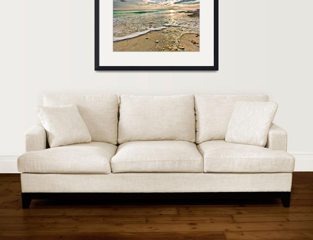 """Shell Covered Beach Sunset Print Landscape Art&quot  (2009) by eszra"