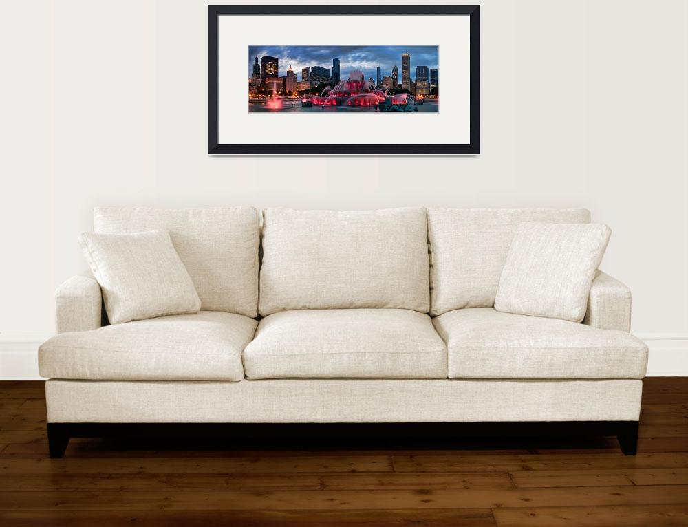 """Chicago Blackhawks Skyline&quot  (2010) by ChicagoPhotoShop"