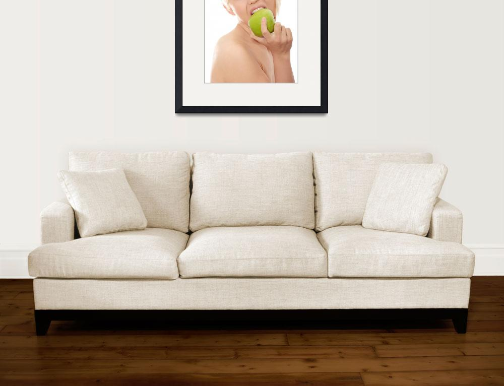 """Beautiful blond woman with green apple&quot  (2010) by Piotr_Marcinski"