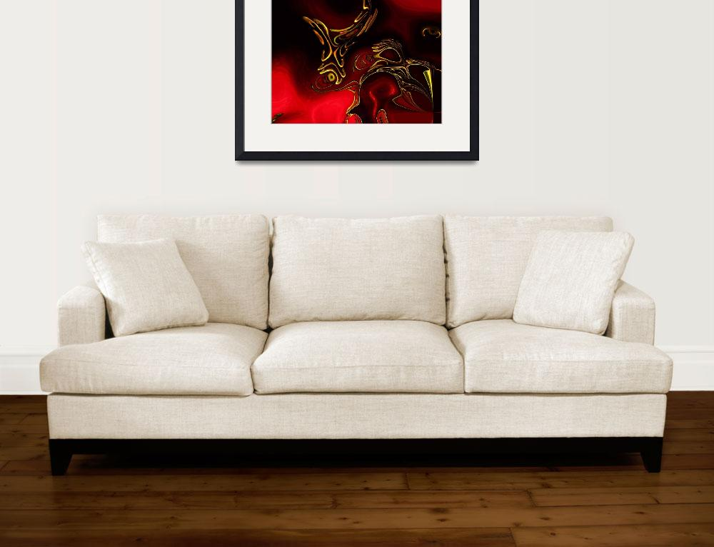 """Zizzago Art Abstract Red Gold Flame 2&quot  (2009) by shanmaree"