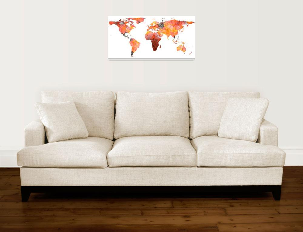 """World Map Silhouette - Fire Photographic Mandala&quot  by Alleycatshirts"