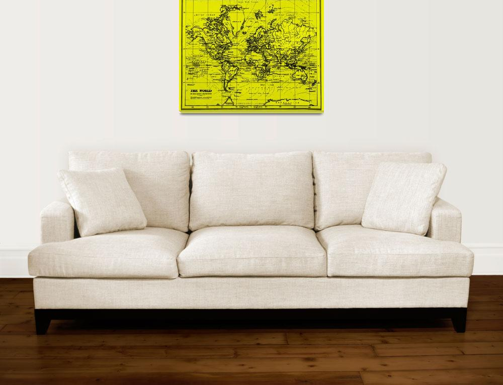 """World Map (1899) Yellow & Black&quot  by Alleycatshirts"