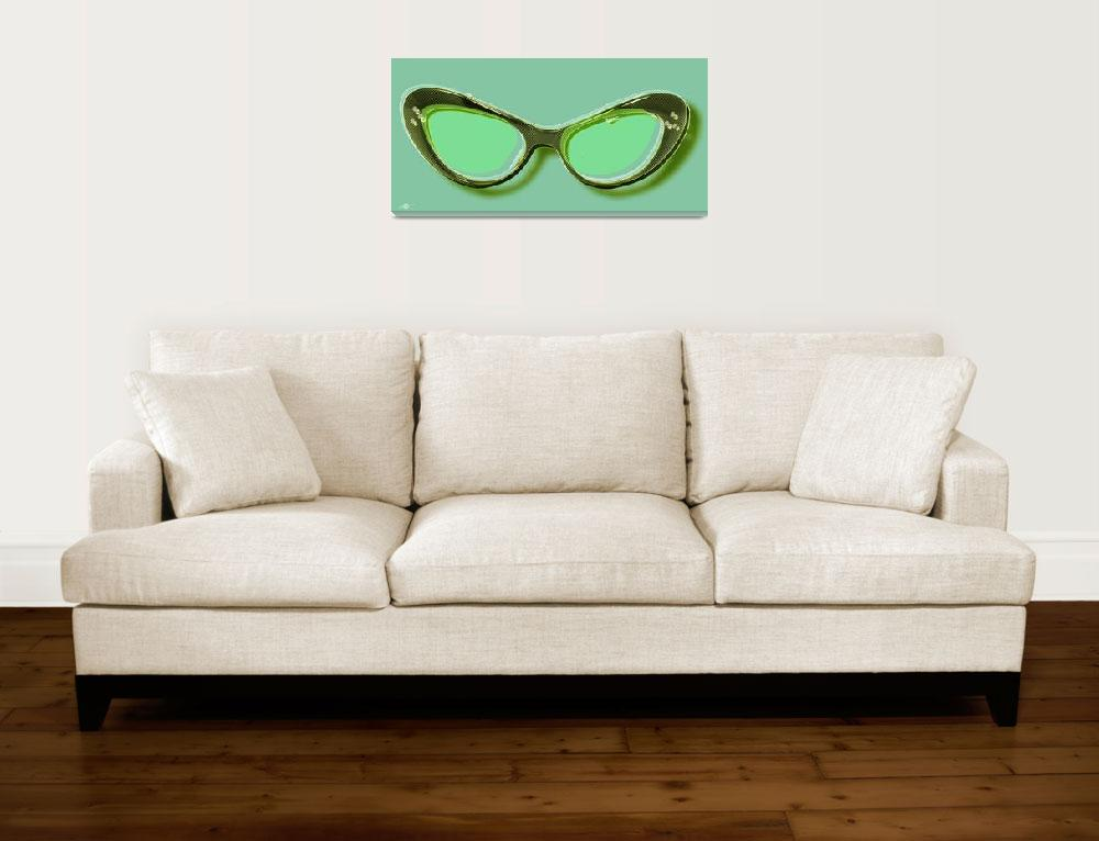 """Retro Glasses Funky Pop Mint Green&quot  by RubinoFineArt"