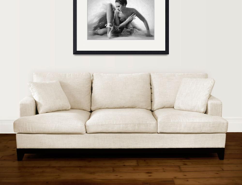 """Ballet Dancer Sitting Black and White&quot  (2014) by RubinoFineArt"
