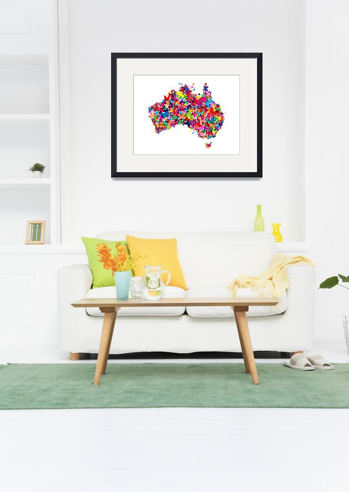"""Australia Butterfly Map&quot  by ModernArtPrints"