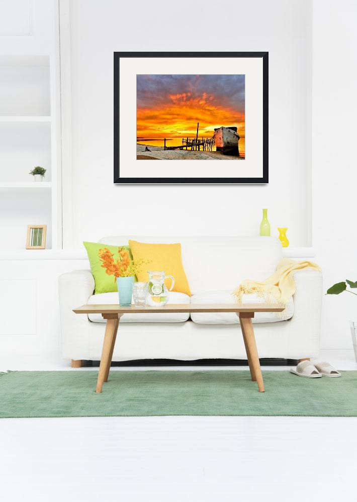 """Old Boat Yellow Red Sunrise Fine Art Giclee Prints&quot  (2008) by eszra"