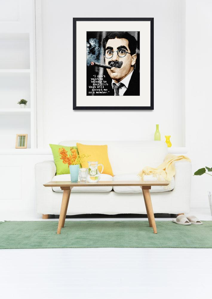 """Groucho Marx And Quote Vertical&quot  by RubinoFineArt"