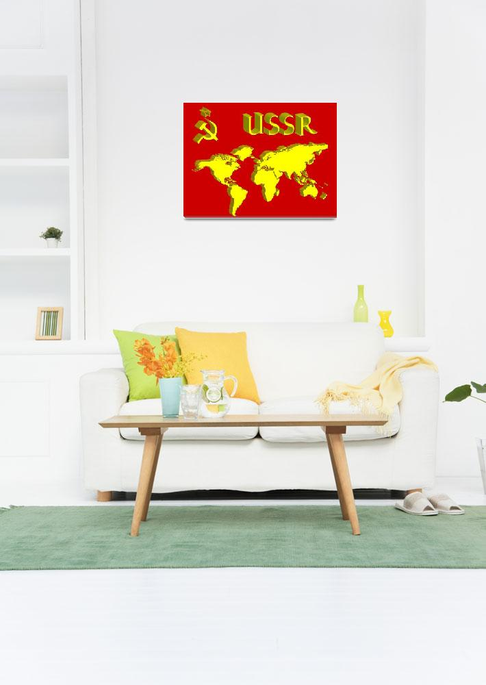 """ussr symbol and world map&quot  by robertosch"