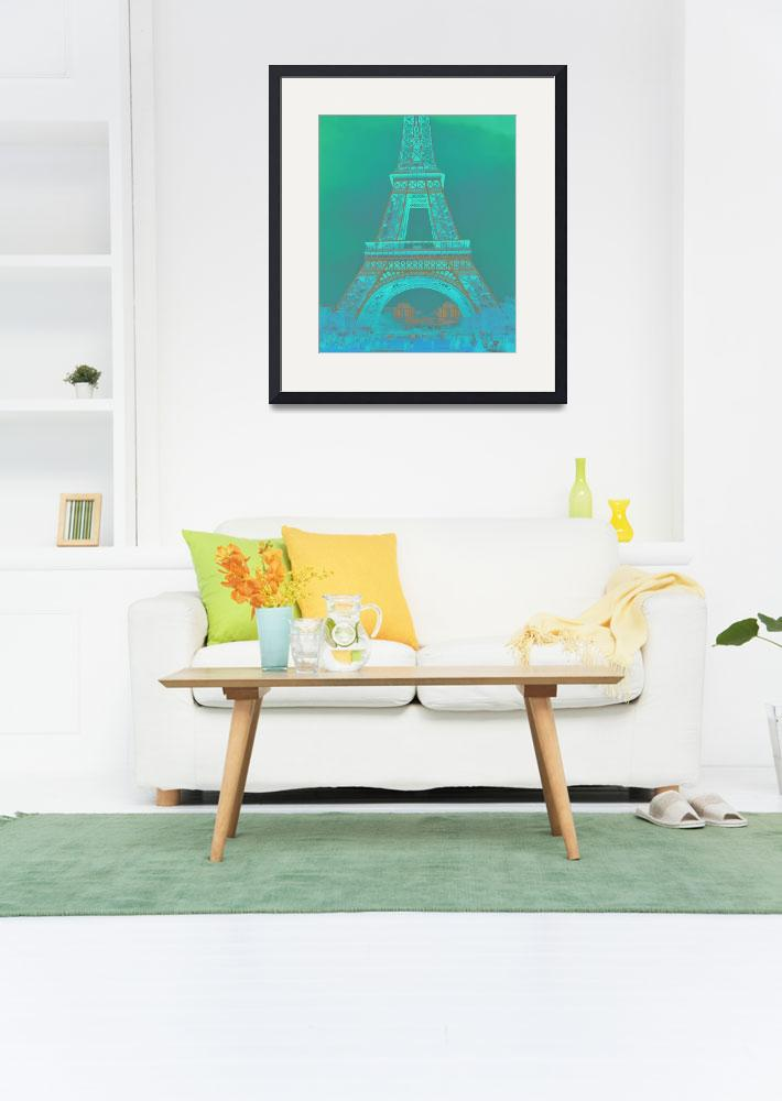"""Eiffel Tower in Turquoise&quot  (2016) by CoraNiele"