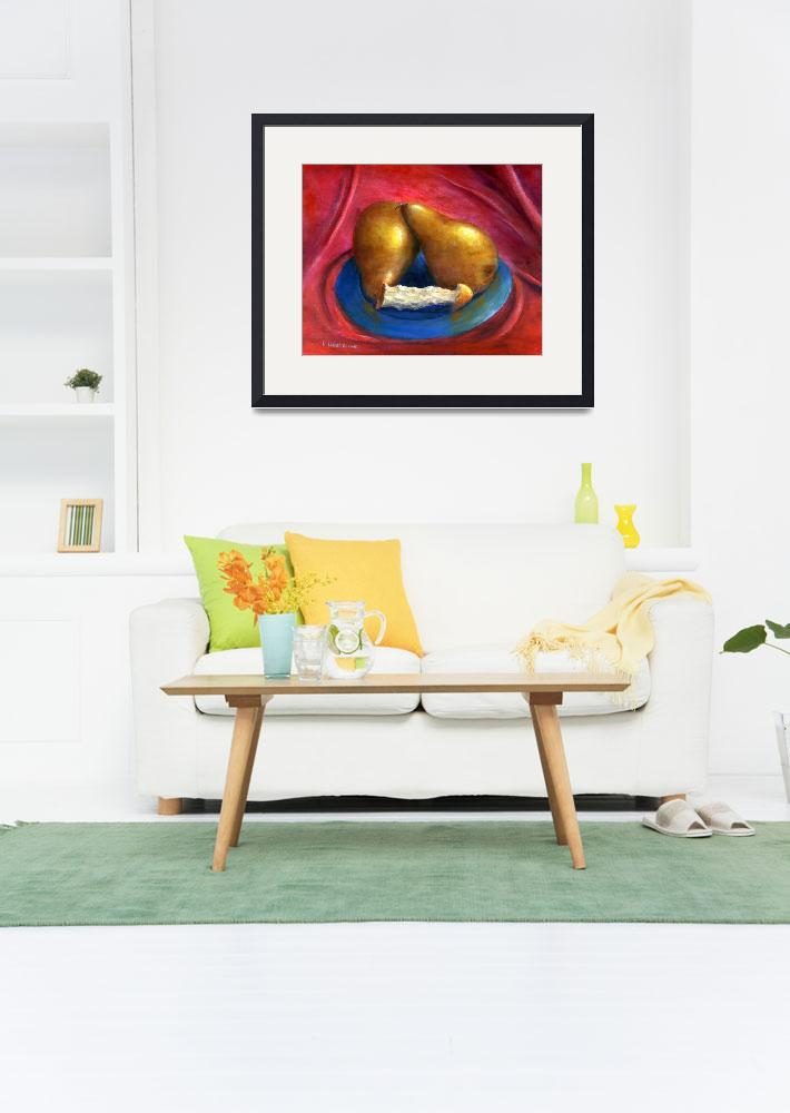 """Still Life Art; Gold Pears, Red Background&quot  (2006) by Lenora"
