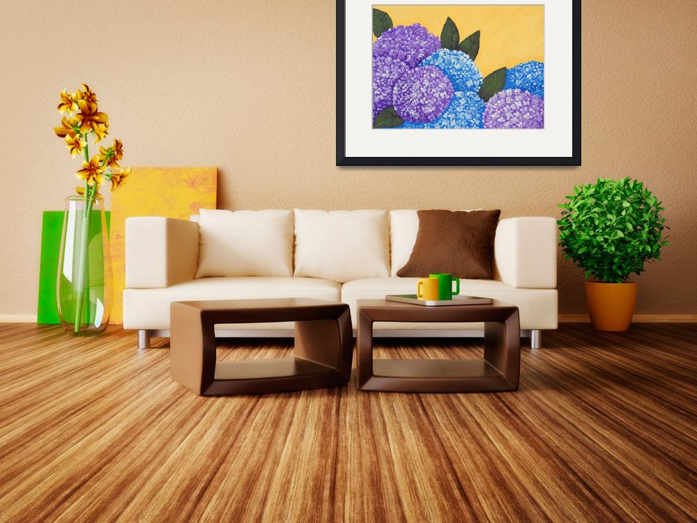 """Expressive Folk Art Hydrangea Painting A72816&quot  (2016) by MasArtStudio"