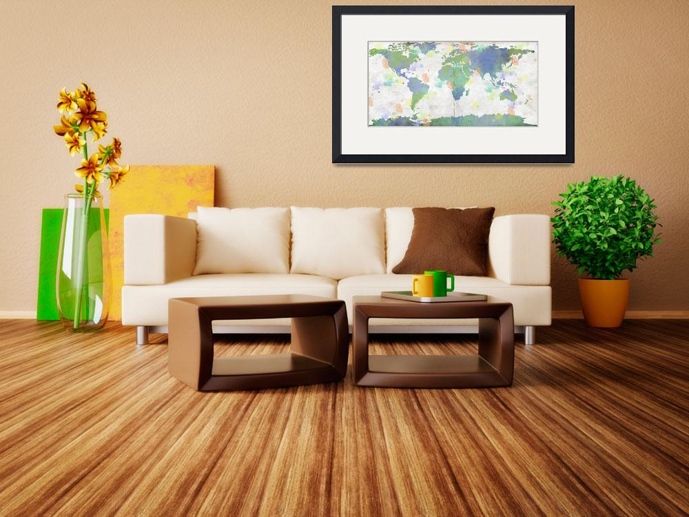 """World Map Watercolor 4&quot  by WrightFineArt"
