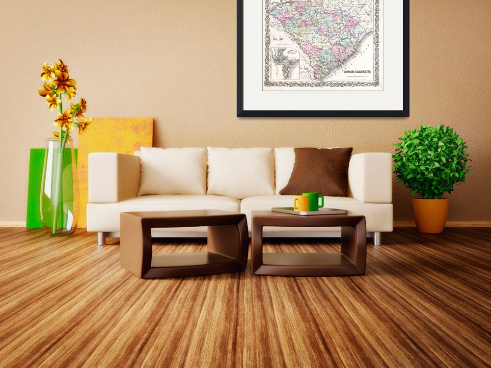 """Vintage Map of South Carolina (1855)&quot  by Alleycatshirts"