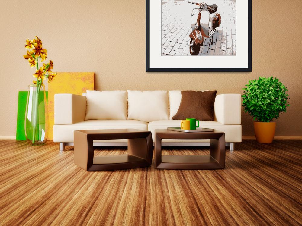 """Vespa Scooter in Brown&quot  (2008) by ModernArtPrints"