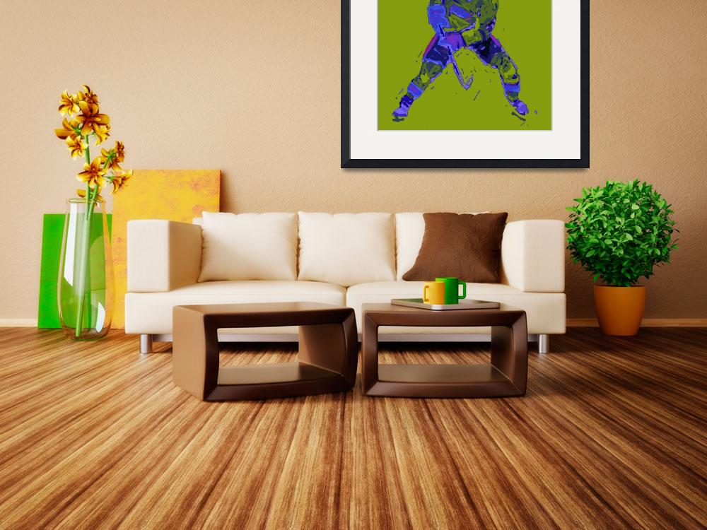 """Hockey Defenseman green blue (c)&quot  (2014) by edmarion"