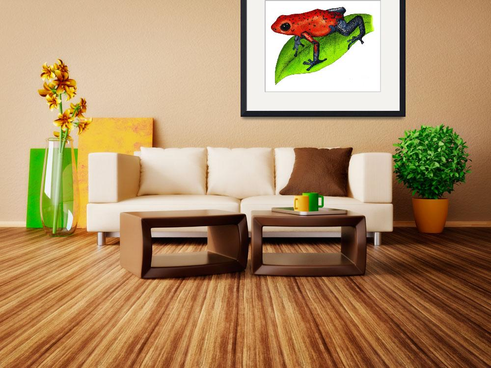 """Strawberry Poison Dart Frog&quot  by inkart"