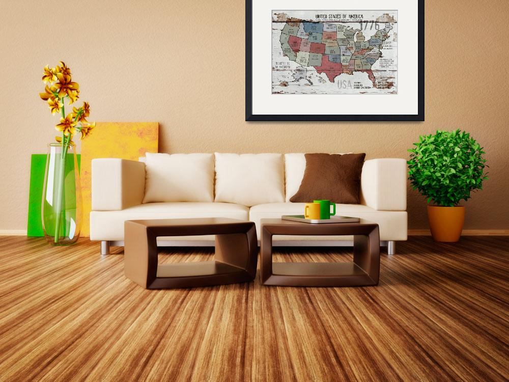 """24x36 new The United States of America Map II&quot  by Aneri"